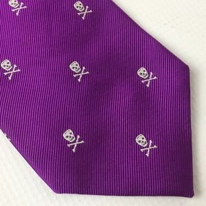 Skull Crossbones Tie Silk Purple Halloween Pirate